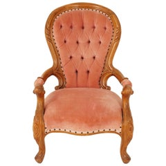 Antique Victorian Arm Chair, Carved Mahogany, Button Back, Scotland 1870, B2504