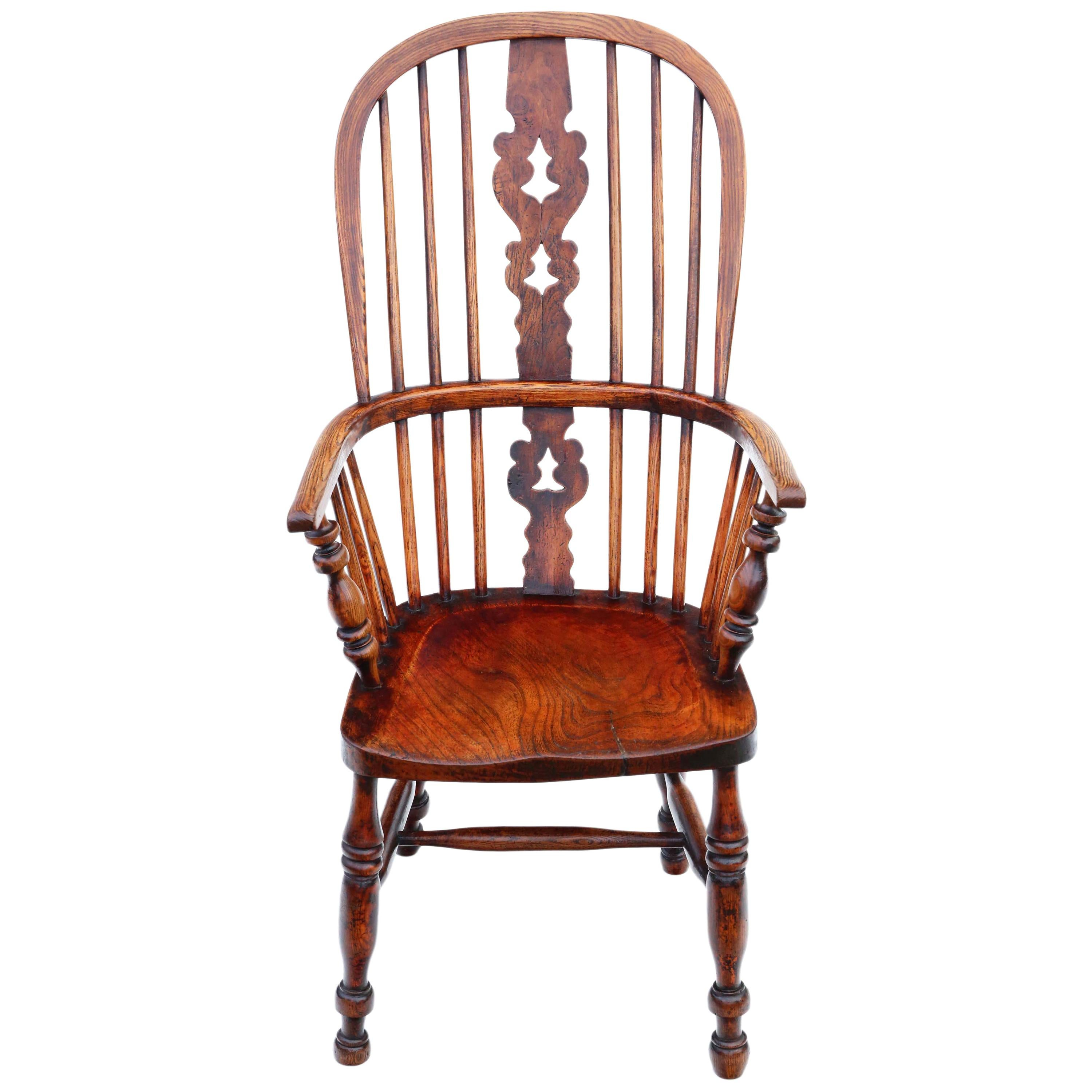 Antique Victorian Ash and Elm Windsor Chair Dining Armchair