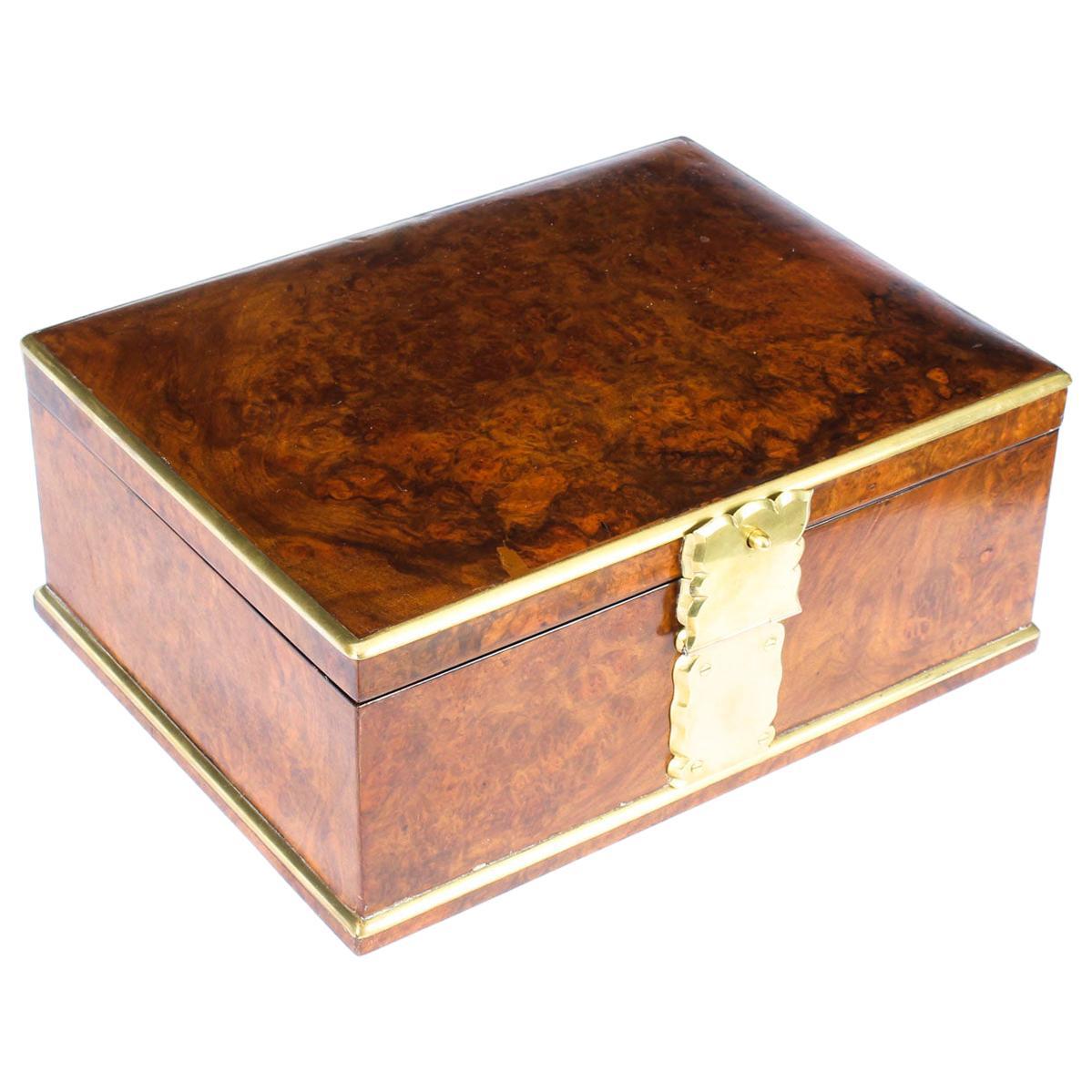 Antique Victorian Aspreys Burr Walnut Casket Jewelry Box, 19th Century
