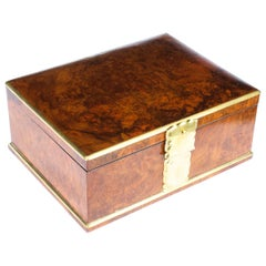 Antique Victorian Aspreys Burr Walnut Casket Jewelry Box, 19th Century