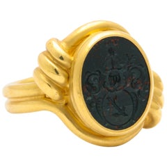 Antique Victorian Asymmetric Bloodstone Intaglio Ring of a Baron