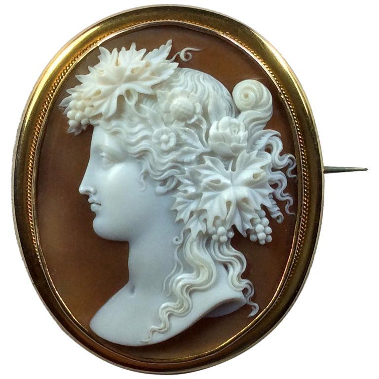 Antique Victorian Bacchante Shell Cameo Brooch