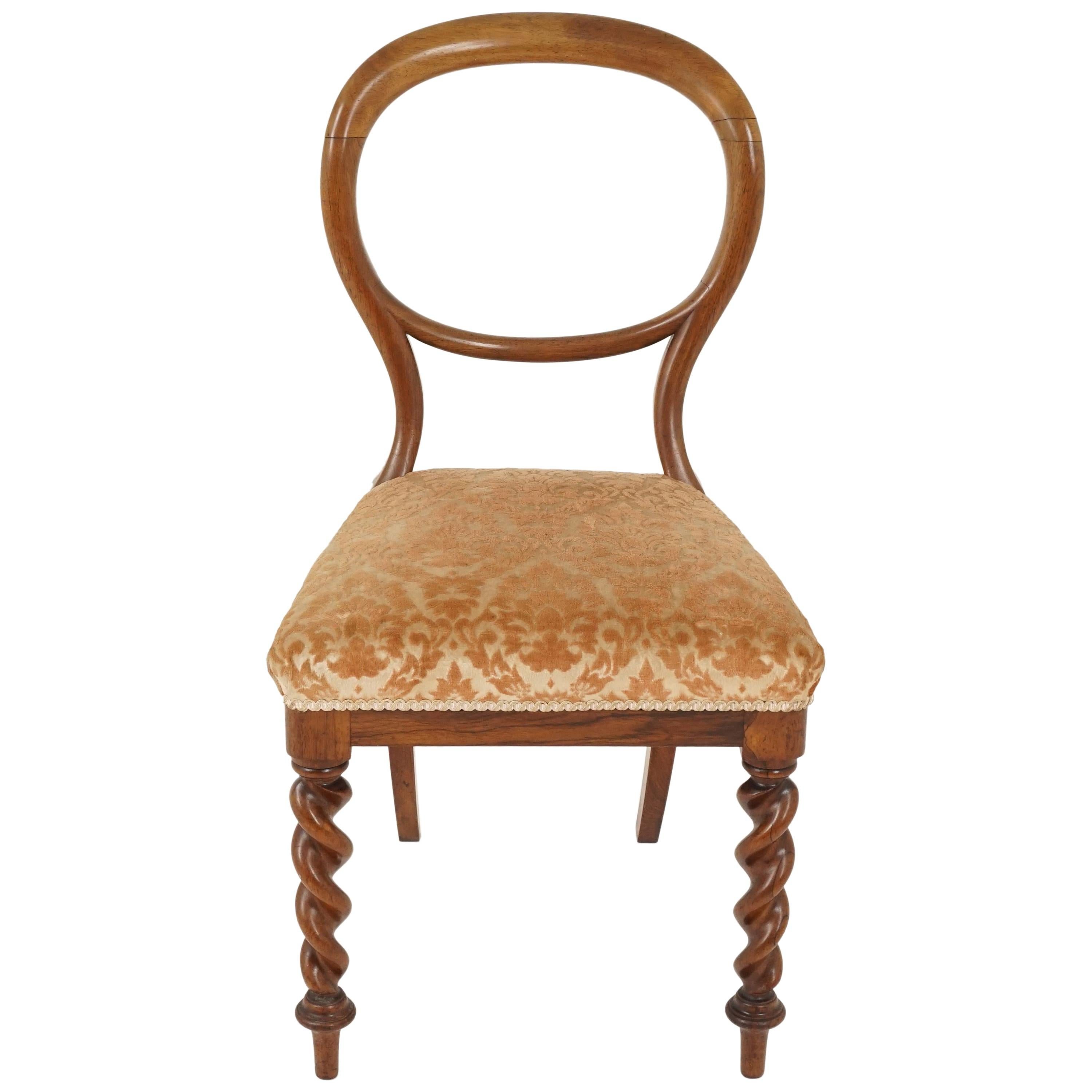 Antique Victorian Balloon Back Chair, Upholstered Chair, Scotland 1880, B2396