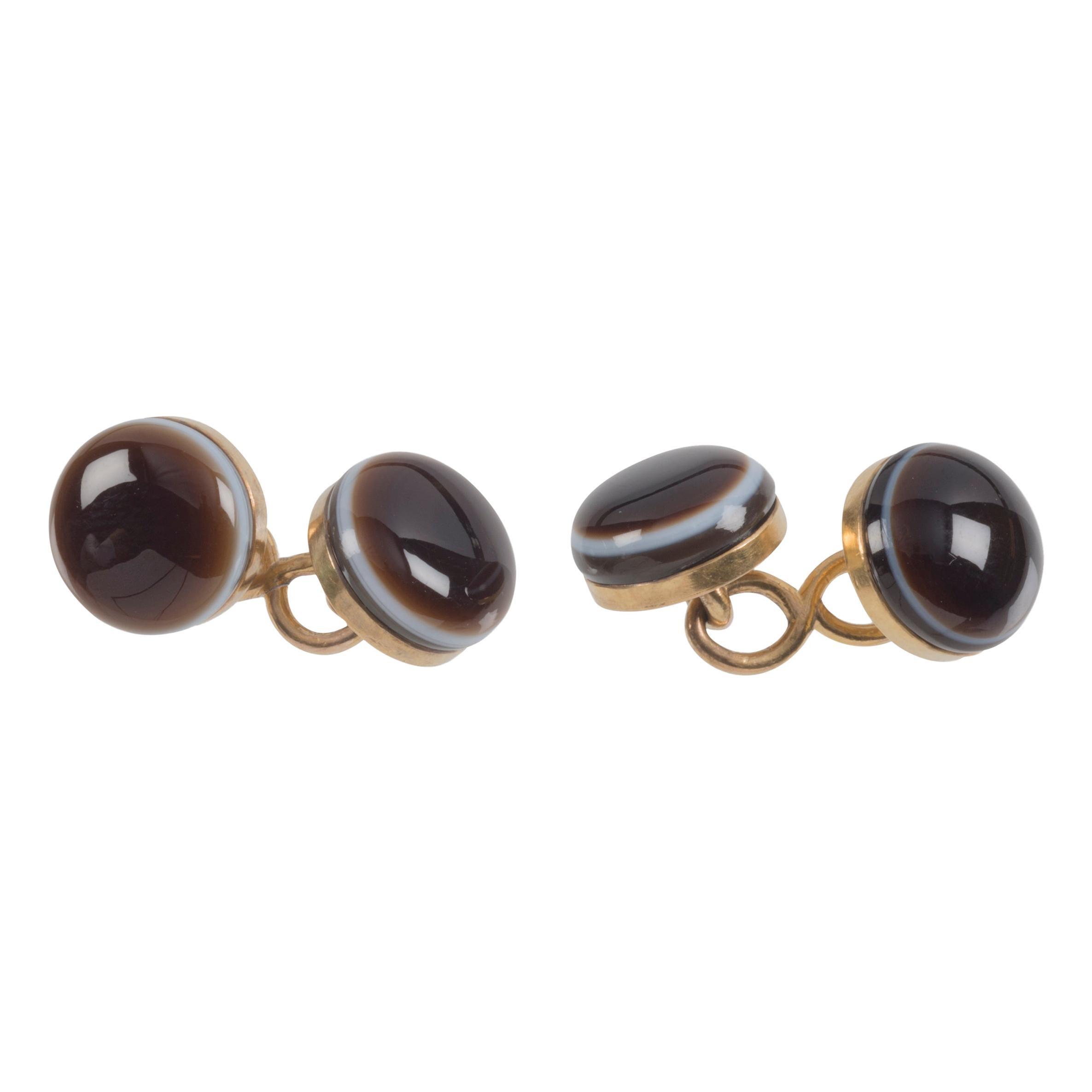 Antique Victorian Banded Agate Sardonyx Eye Gold Cufflinks
