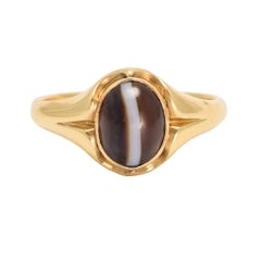 Antique Victorian Banded Agate Signet Ring