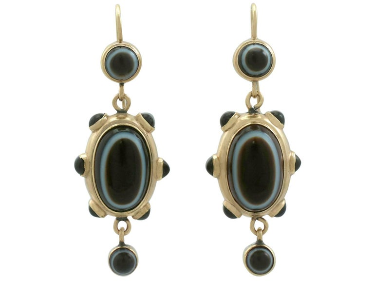 Antique Victorian Banded Agate Yellow Gold Jewelry Set For Sale 1