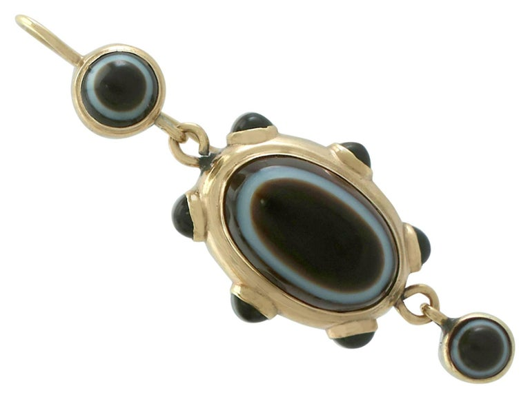 Antique Victorian Banded Agate Yellow Gold Jewelry Set For Sale 2