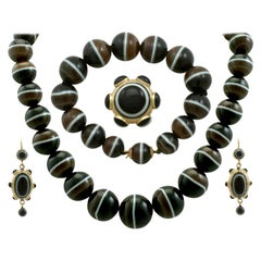 Antique Victorian Cabochon Cut Banded Agate Yellow Gold Jewelry Set