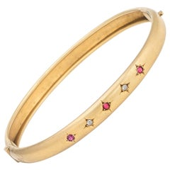 Antique Victorian Bangle Bracelet 10 Karat Yellow Gold Ruby Diamond Vintage Fine