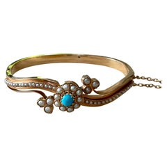 Antique Victorian Bangle Turquoise Pearls
