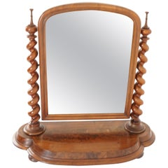 Antique Victorian Barley Twist Mahogany Vanity Table Mirror, Scotland, 1880