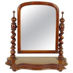 Antique Victorian Barley Twist Walnut Dressing Table Mirror, Scotland 1880, 1731