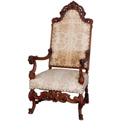 Antique Victorian Baroque Style Figural Throne Armchair, circa 1900