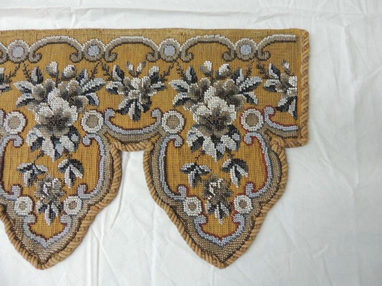 Hand-Crafted Antique Victorian Beaded Tapestry Window Valance For Sale