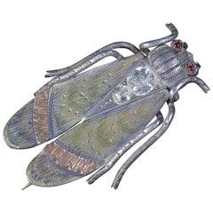 Antique Victorian Beetle Paste Garnet Brooch Silver, circa 1880