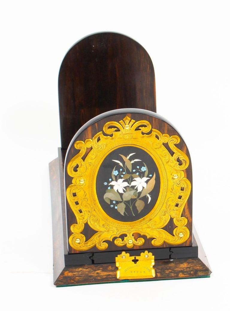 Antique Victorian Betjemann's Pietra Dura Coromandel Book Slide 19th C 3