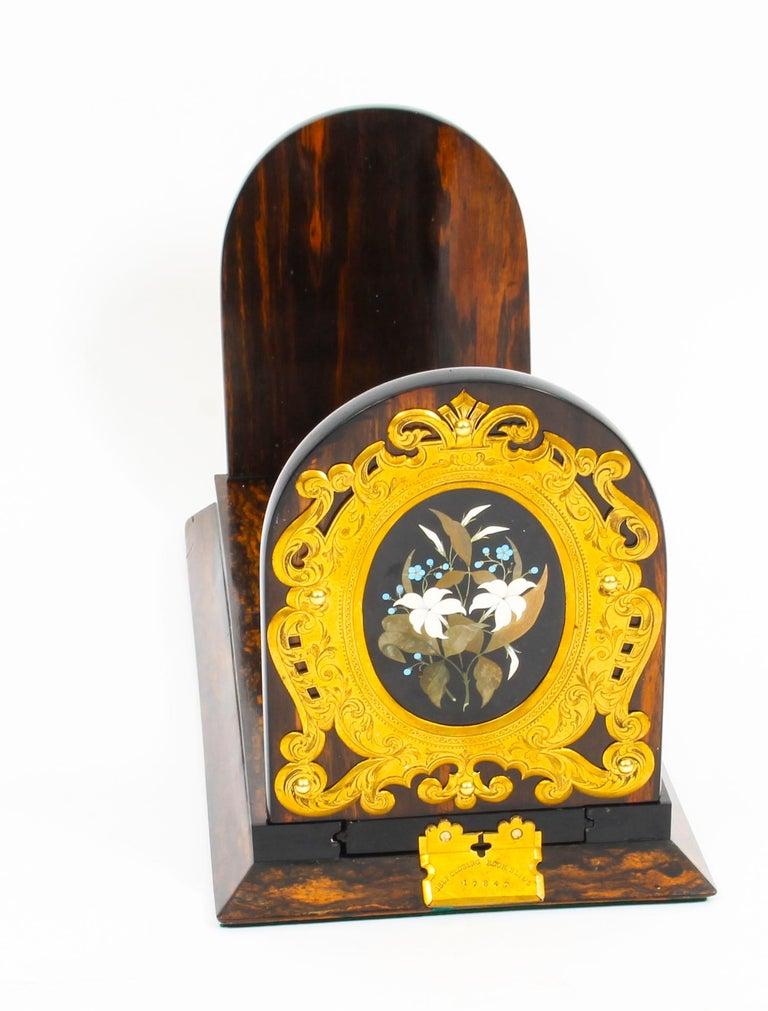 Antique Victorian Betjemann's Pietra Dura Coromandel Book Slide 19th C 6