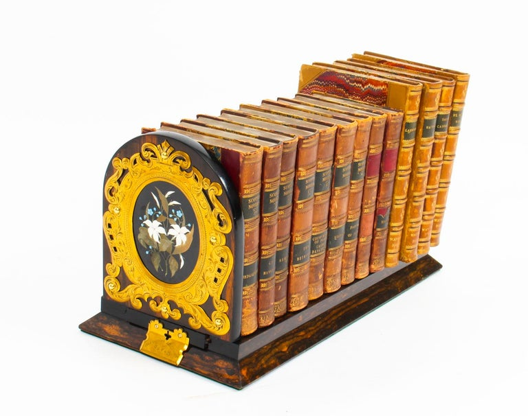 Antique Victorian Betjemann's Pietra Dura Coromandel Book Slide 19th C In Good Condition In London, GB
