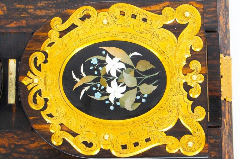 Late 19th Century Antique Victorian Betjemann's Pietra Dura Coromandel Book Slide 19th C