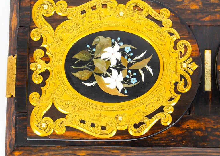Brass Antique Victorian Betjemann's Pietra Dura Coromandel Book Slide 19th C