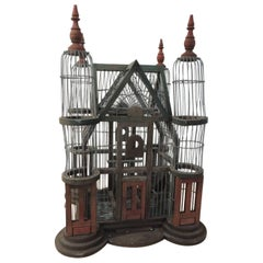 Antique Victorian Bird Cage Painted Red and Green