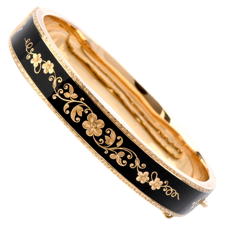 Antique Victorian Black Enamel 14 Karat Gold Bangle Bracelet
