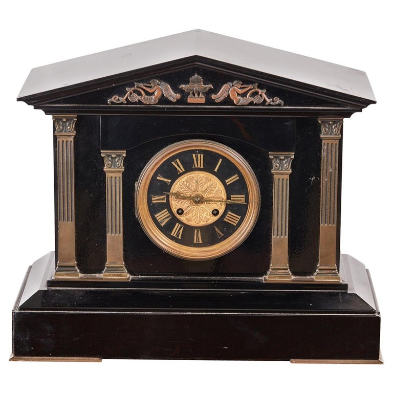 Antique Victorian Black Marble Mantel Clock For Sale At