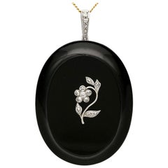 Antique Victorian Black Onyx and Diamond Locket