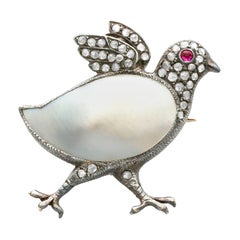 Antique Victorian Blister Pearl Ruby and Diamond Yellow Gold Chick Brooch