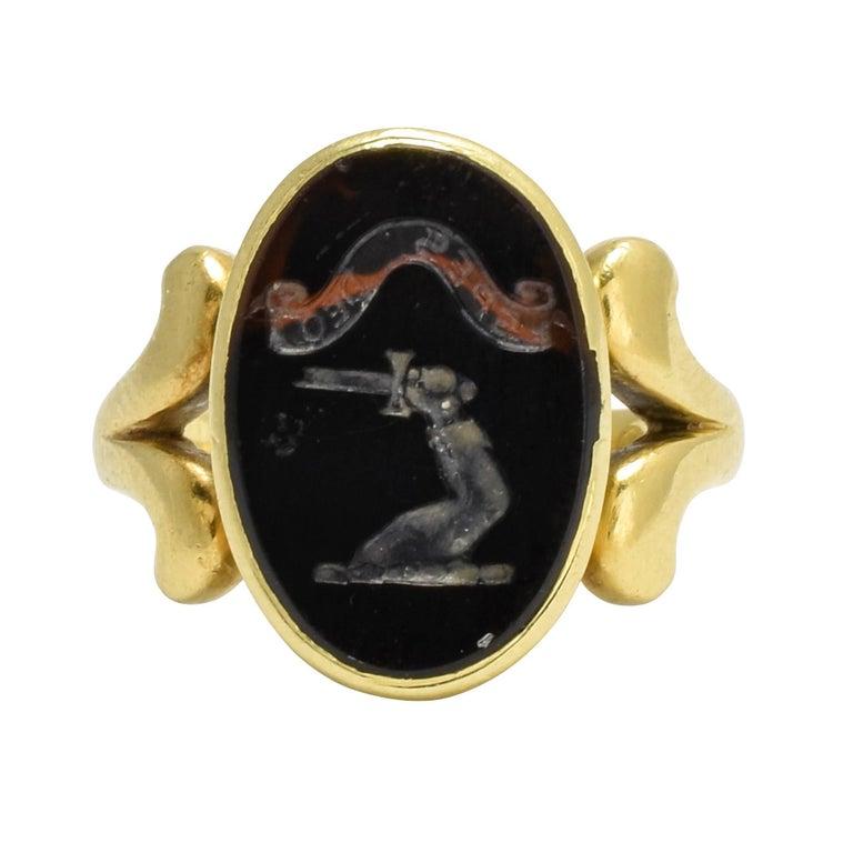 "Antique Victorian Bloodstone ""Broken Sword"" Heraldic Intaglio Signet Ring"