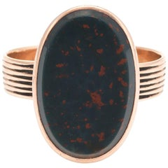 Antique Victorian Bloodstone Ring 14 Karat Rose Gold Oval Signet Mount Estate