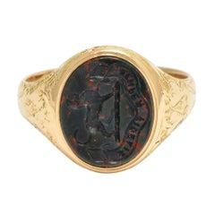 """Antique Victorian Bloodstone Talbot Dog Intaglio Signet Ring """"Always Faithful"""""""