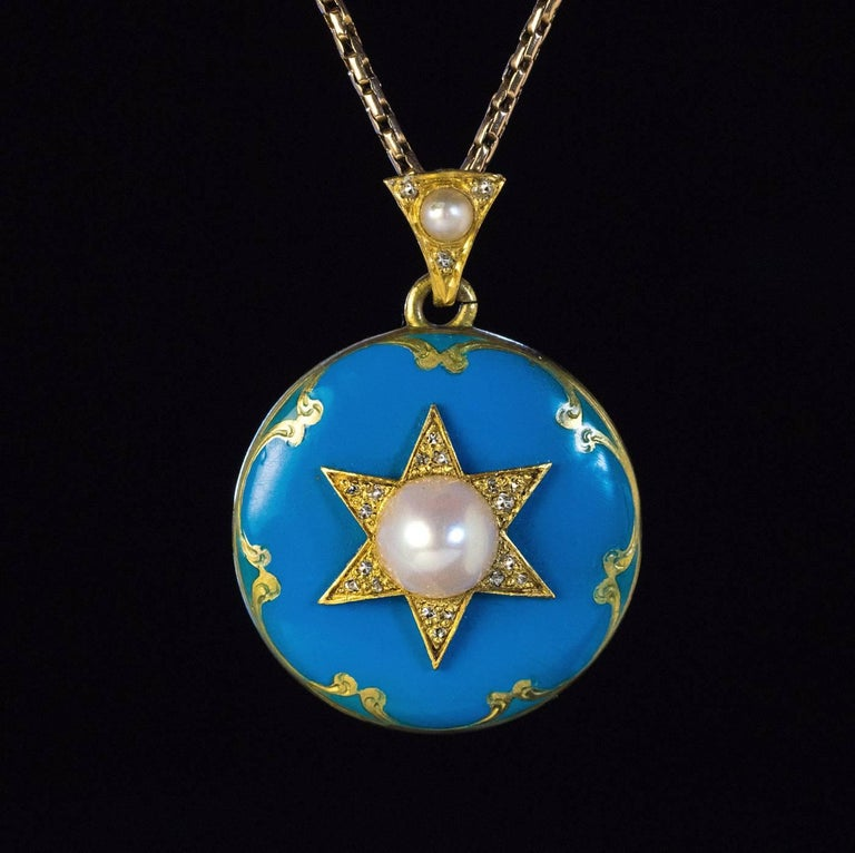 Women's or Men's Antique Victorian Blue Enamel Pearl Diamond Gold Pendant For Sale