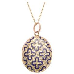Antique Victorian Blue Enamel Quatrefoil Locket