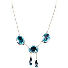 Antique Victorian Blue Paste Necklace Silver, circa 1880-1900