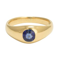 Antique Victorian Blue Sapphire Solitaire Gypsy Ring