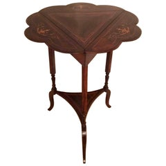 Antique Edwardian Inlaid Drop Leaf Table