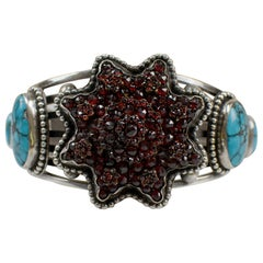 Antique Victorian Bohemian Garnet Eight Point Star with Turquoise Cuff Bracelet