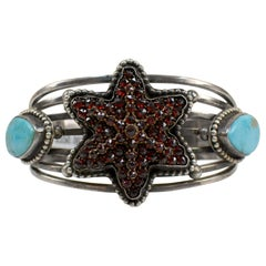 Antique Victorian Bohemian Garnet Six Point Star with Turquoise Cuff Bracelet
