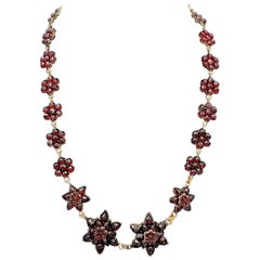 Antique Victorian Bohemian Garnet Stars Silver Gilt Necklace