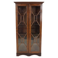 Antique Victorian Bookcase, Walnut, Glass Front Display Cabinet, Scotland, 1910