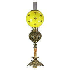 Antique Victorian Bradley & Hubbard Gilt Metal & Onyx Parlor Lamp, c1890