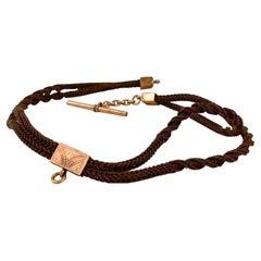 Antique Victorian Braided Hair Pocket Watch Chain or Cord