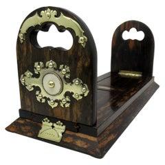 Antique Victorian Brass Inlaid Coromandel Library Book Trough Bookcase Holder