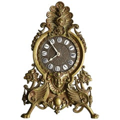 Antique Victorian Bronze Figural Easel Back Desk Clock, Circa 1890