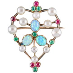 Antique Victorian Emerald Ruby Pearl Opal 18 Carat Gold circa 1900 Brooch