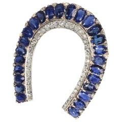 Antique Victorian Brooch Horse Shoe with 67 Diamonds and over 11 Carat Sapphires