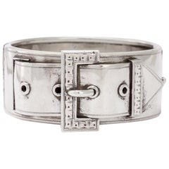 "Antique Victorian ""Buckle & Strap"" Silver Cuff Bangle"