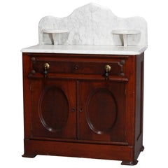 Antique Victorian Burl & Walnut Wash Stand Commode, Circa 1890