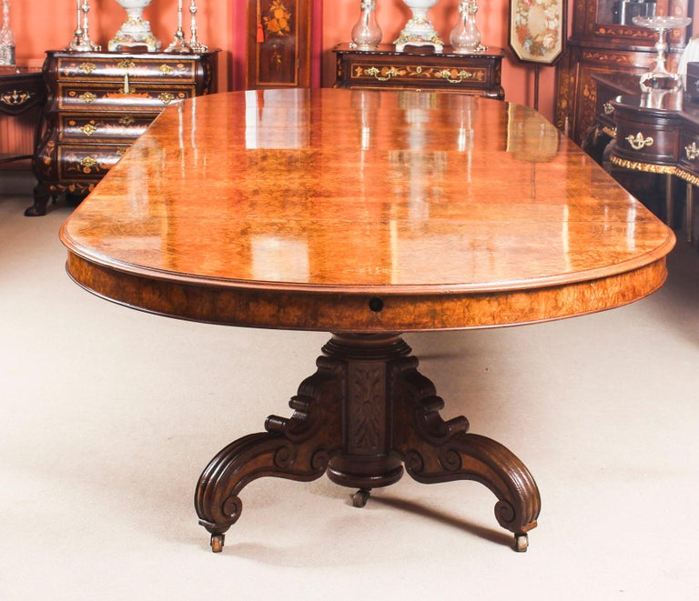 Antique Victorian Burr Marquetry Walnut Dining Table 19th Century